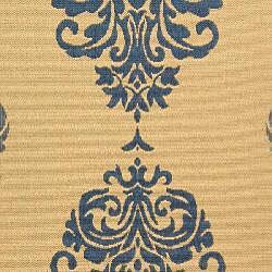 Safavieh St. Martin Damask Natural/ Blue Indoor/ Outdoor Rug (8' x 11') - Thumbnail 2