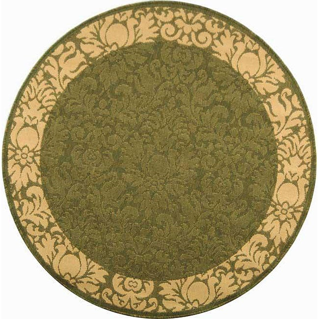 Safavieh Kaii Damask Olive Green/ Natural Indoor/ Outdoor Rug (5'3 Round) - Thumbnail 0