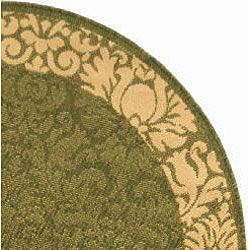 Safavieh Kaii Damask Olive Green/ Natural Indoor/ Outdoor Rug (5'3 Round) - Thumbnail 1