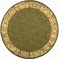 "Safavieh Kaii Damask Olive Green/ Natural Indoor/ Outdoor Rug - 5'3"" x 5'3"" round"