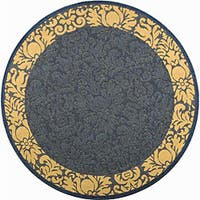 Safavieh Kaii Damask Blue/ Natural Indoor/ Outdoor Rug (5'3 Round) - 5'3
