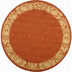 Safavieh Kaii Damask Terracotta/ Natural Indoor/ Outdoor Rug (5'3 Round)