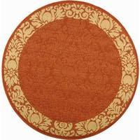 Safavieh Kaii Damask Terracotta/ Natural Indoor/ Outdoor Rug (5'3 Round) - 5'3 round
