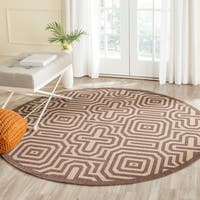 "Safavieh Matrix Chocolate/ Natural Indoor/ Outdoor Rug - 5'3"" x 5'3"" round"