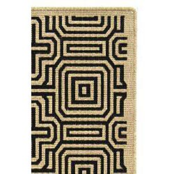 Safavieh Matrix Sand/ Black Indoor/ Outdoor Rug (2'7 x 5') - Thumbnail 1