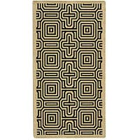 Safavieh Matrix Sand/ Black Indoor/ Outdoor Rug - 4' x 5'7