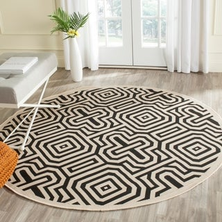 Safavieh Matrix Sand/ Black Indoor/ Outdoor Rug (5'3 Round)