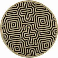 Safavieh Matrix Sand/ Black Indoor/ Outdoor Rug (6'7 Round) - 6'7