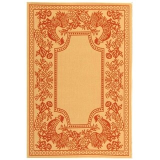 """Safavieh Indoor/ Outdoor Courtyard Traditional Natural / Red Rug - 4' x 5'-7"""""""