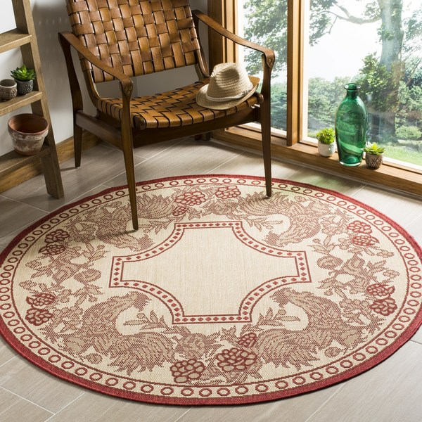 Discounted Home Goods: Safavieh Rooster Natural/ Red Indoor/ Outdoor Rug (5'3