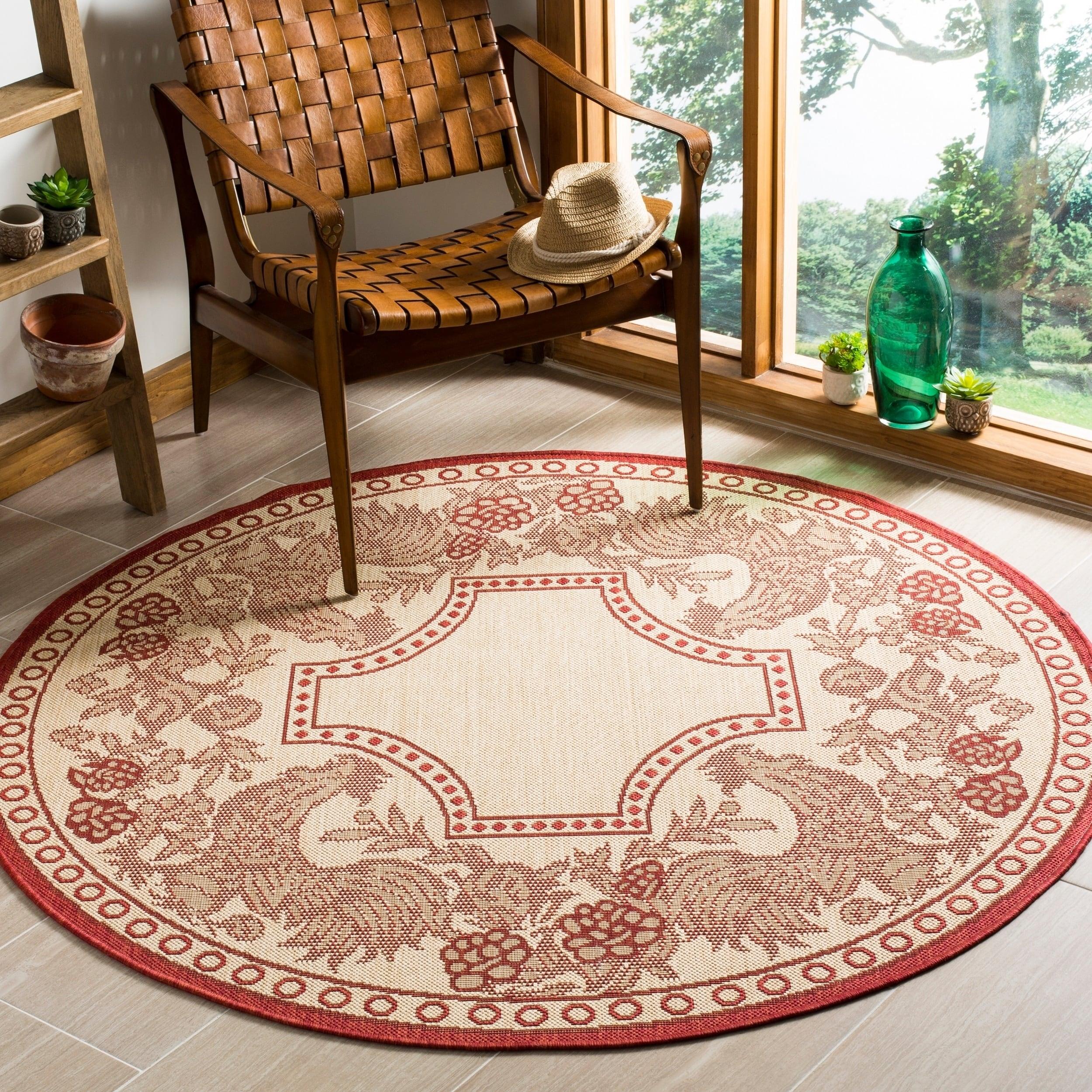 Safavieh Rooster Natural/ Red Indoor/ Outdoor Rug (6'7