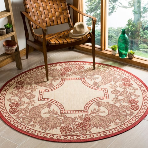"Safavieh Rooster Natural/ Red Indoor/ Outdoor Rug - 6'7"" x 6'7"" Round"