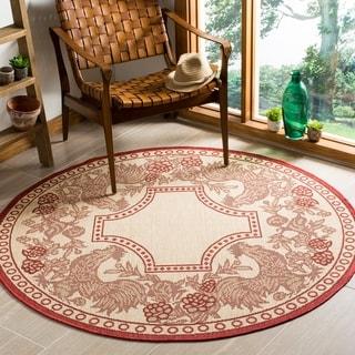 Safavieh Rooster Natural/ Red Indoor/ Outdoor Rug (6'7 Round)