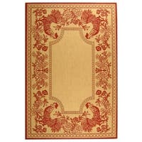 """Safavieh Indoor/ Outdoor Courtyard Transitional Natural / Red Rug - 6'7"""" x 9'6"""""""