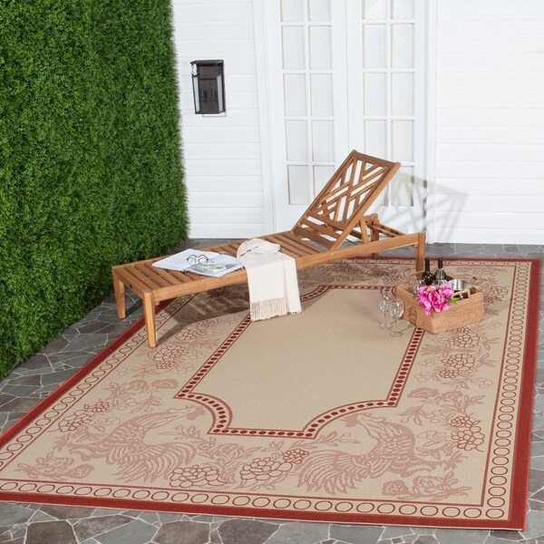 Safavieh Rooster Natural/ Red Indoor/ Outdoor Rug - 7'10 x 11'