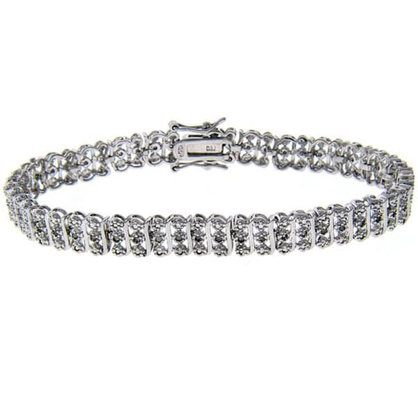 Finesque Sterling Silver 1/2ct TDW Diamond Tennis Bracelet (J-K, I3)