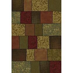 Del Mar Green/ Red Colorblock Rug (3'10 x 5'5)