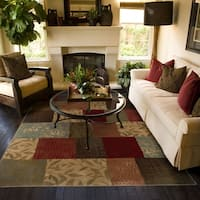 Del Mar Green/ Red Colorblock Rug - 3'10 x 5'5