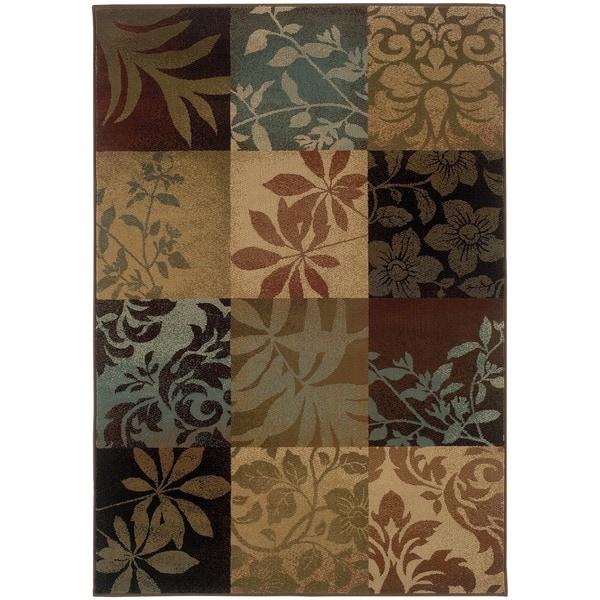 """Del Mar Brown Floral Rug (6'7 x 9'6) - 6'7"""" x 9'6"""""""