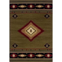 Pine Canopy Allegheny Southwestern Green/ Black Area Rug - 7'8' x 10' - Thumbnail 0