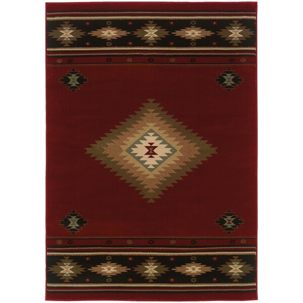 Pine Canopy Allegheny Southwestern Red/ Black Area Rug - 7'8' x 10'