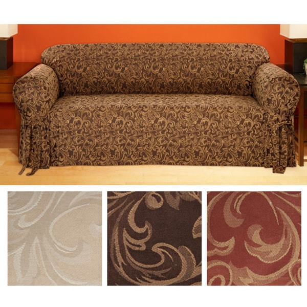 Clic Slipcovers Catherine Round Arm Jacquard Sofa Slipcover
