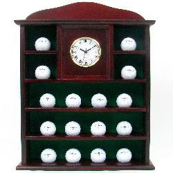 Solid Wood Golf Ball Holder with Clock