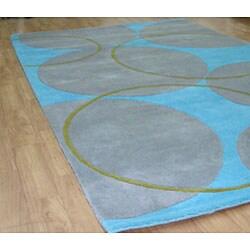 Alliyah Handmade Rings and Circles New Zealand Blend Wool Rug (5' x 8') - Thumbnail 1