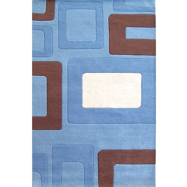 Alliyah Handmade Multi Boxes Blue New Zealand Blend Wool Rug (5' x 8') - Thumbnail 0