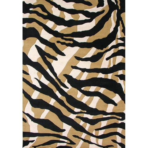 Alliyah Handmade Brown Stripes New Zealand Blend Wool Rug (5' x 8') - 5' x 8'