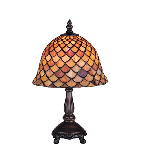 Tiffany-style Fishscale 13.5-inch Mini Lamp - Thumbnail 1