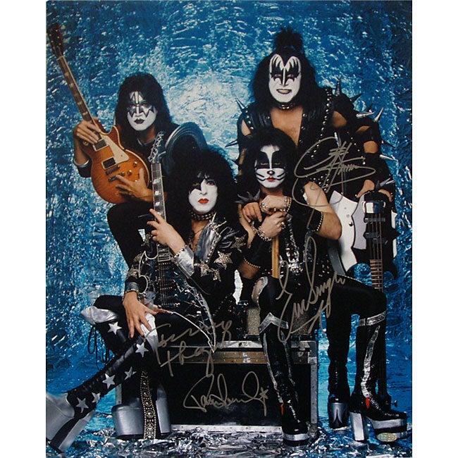 KISS Band Signed Group Pose Aqua 16x20 Photograph