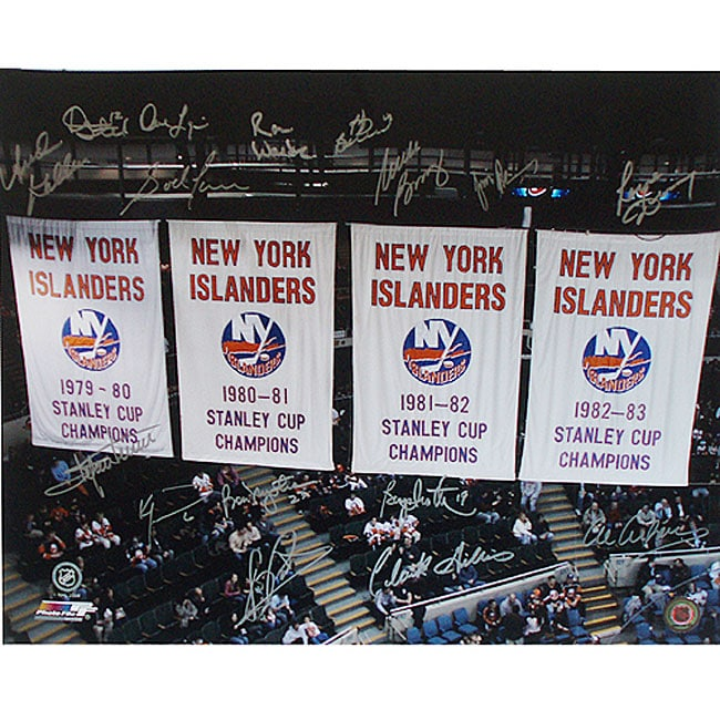 NY Islanders 'Stanley Cup Banners' 20x24 16 Player Autographed Photo