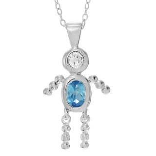 Journee Collection Sterling Silver Cubic Zirconia Birthstone Charm Pendant