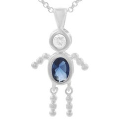 Journee Collection Sterling Silver Boy Birthstone Pendant