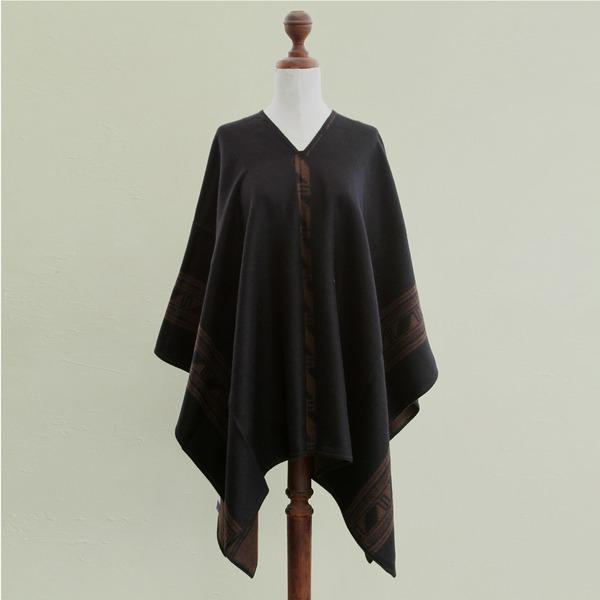 Brown Black Glyphs Artisan Handmade Inca Motif Cozy Soft Warm Women's Mantle Cape Natural Alpaca Wool Reversible Poncho (Peru)