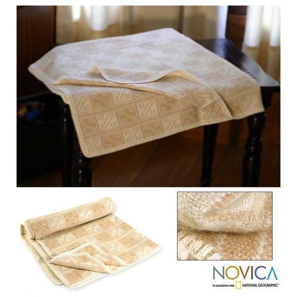 'Hypnotic Inca in Tan' Alpaca wool Throw Blanket (Peru)