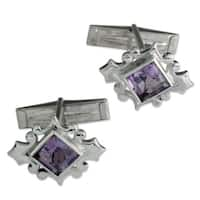 Handmade Amethyst and Silver 'Orchid' Cufflinks (India)