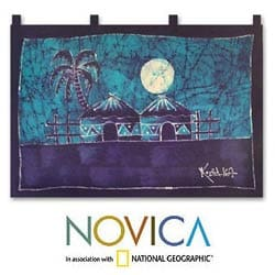 Batik 'Aklowa by Night' Wall Hanging , Handmade in Ghana