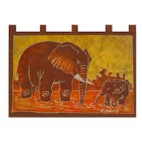 Batik Cotton 'Elephant Child' Wall Hanging  , Handmade in Ghana