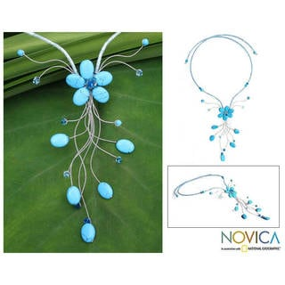 Handmade Beaded 'Azure Forest' Necklace (99mm)(Thailand)