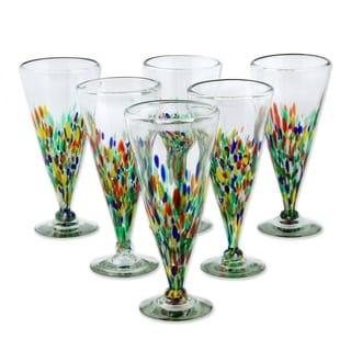 Set of 6 Handmade 'Multicolor Specks' Beer Glasses (Mexico)