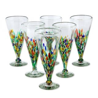 Set of 6 Handmade 'Multicolor Specks' Beer Glasses (Mexico)|https://ak1.ostkcdn.com/images/products/4022482/P12045578.jpg?impolicy=medium
