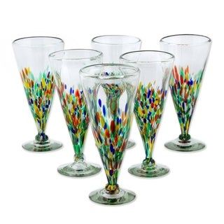 Set of 6 Handmade 'Multicolor Specks' Beer Glasses (Mexico)