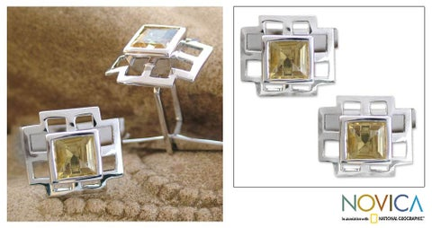 Handmade Citrine and Silver 'Sun Tower' Cuff Links (India)