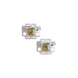 Handmade Citrine and Silver Sun Tower Cuff Links (India)