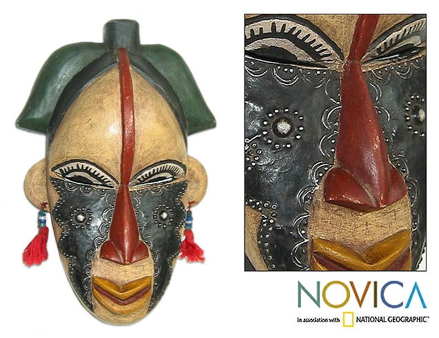 Pride of Womanhood Puberty Fertility Rite Lwalwa Tribal Artwork Hand Carved Multicolor Accent African Wall Art Mask (Ghana)