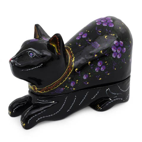 Handmade Blue-Eyed Kitty Cat Lacquered Wood Box (Thailand)