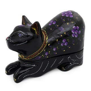 Lacquered 'Blue-eyed Kitty Cat' Wood Box , Handmade in Thailand|https://ak1.ostkcdn.com/images/products/4022560/P12045649.jpg?impolicy=medium