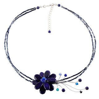 Handmade Midnight Sea Blue Crystal and Lapis Lazuli Gemstone Flower on Beaded Wire Adjustable Womens Fashion (Thailand)